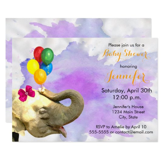 Elephant jungle animal neutral girl baby shower card