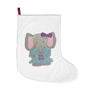 Elephant Jungle Friends Baby Animal Water Color Large Christmas Stocking
