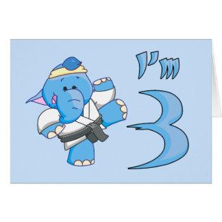 Elephant Karate 3rd Birthday Note Card