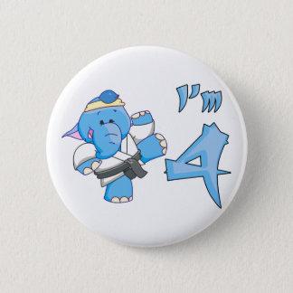 Elephant Karate 4th Birthday 2 Inch Round Button