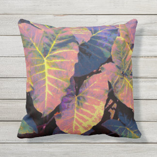 Elephant Leaves in Tropical Pastels Throw Pillow