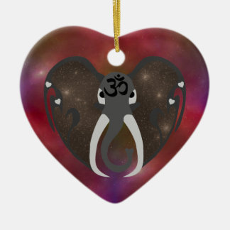 Elephant Listening to the Cosmos Ceramic Heart Ornament