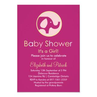 Elephant Logo Purple Baby Shower Invitation