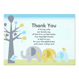 Elephant Love Baby Shower Thank You Card