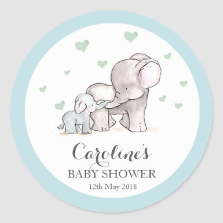 Elephant Love Blue Baby Shower Sticker Classic Round Sticker