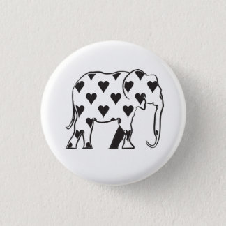 Elephant Love Minimal Silhouette Heart Pattern 1 Inch Round Button