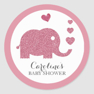 Elephant Love Pink Glitter Baby Shower Sticker