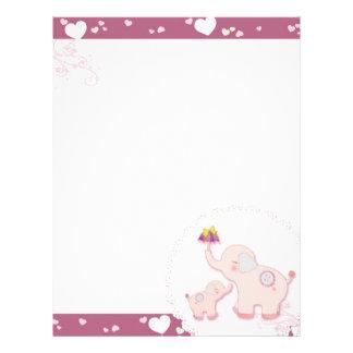 Elephant Love Whimsical Scrapbook Personalized Letterhead