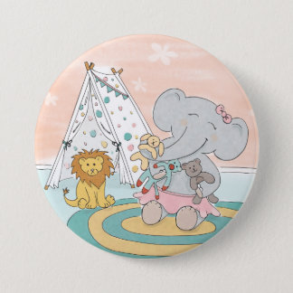 Elephant making friends Button