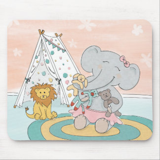 Elephant making friends mouse pad