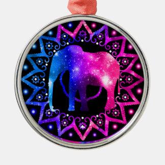 Elephant Mandala Metal Ornament