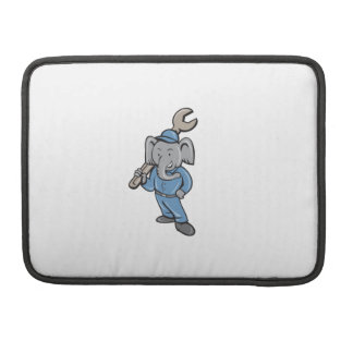 Elephant Mechanic Spanner Standing Cartoon MacBook Pro Sleeve