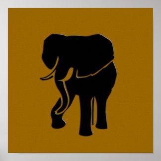 Elephant Modern Gold Print Poster