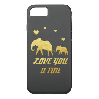 Elephant mom and baby faux gold hearts iPhone 7 iPhone 7 Case