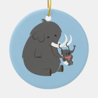 Elephant Mommy and Baby Round Ceramic Ornament