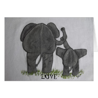 Elephant Mommy & Baby- Truest Love Note Card
