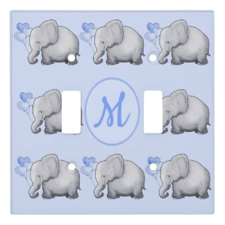 Elephant Monogram Baby Boy's Nursery Room Light Switch Cover
