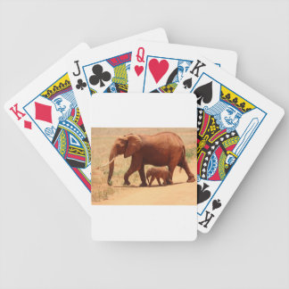 Elephant Mummy and Cub Bicycle Playing Cards
