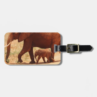 Elephant Mummy and Cub Luggage Tag