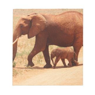 Elephant Mummy and Cub Notepad