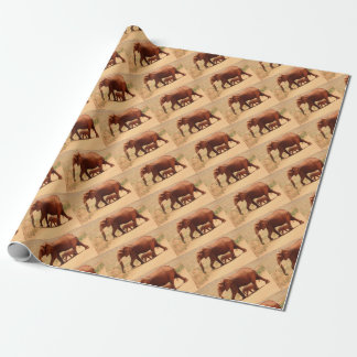 Elephant Mummy and Cub Wrapping Paper
