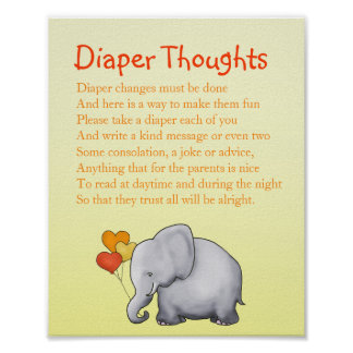 Elephant Neutral Baby Shower Diaper Thoughts Game Poster