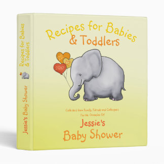 Elephant Neutral Baby Shower Recipe Collection 3 Ring Binders