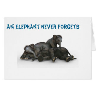 Elephant Never Forget Card Friendship Family 5x7