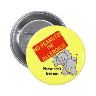 Elephant No Peanuts I'm Allergic 2 Inch Round Button
