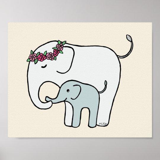 Elephant Nursery Art Print Cute Mom Baby Elephant