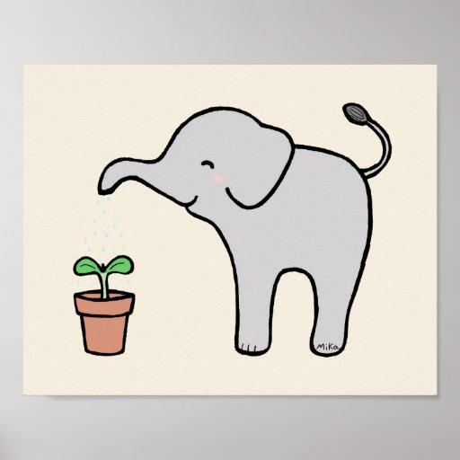 elephant nursery decor Cute Baby Elephant Print