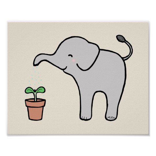 elephant nursery decor Cute Baby Elephant Print
