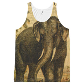 Elephant Octopus Vintage Nature Illustrations All-Over-Print Tank Top