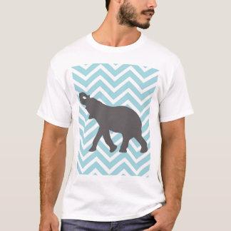 Elephant on Chevron Zigzag - Aqua Blue and White T-Shirt