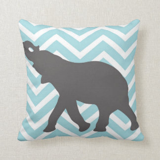 Elephant on Chevron Zigzag - Aqua Blue and White Throw Pillow