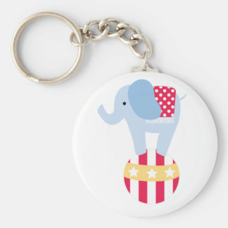 Elephant on Circus Ball Keychain