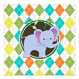 Elephant on Colorful Argyle Pattern Custom Announcements