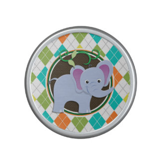Elephant on Colorful Argyle Pattern Bluetooth Speaker