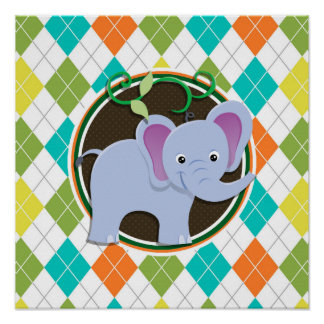 Elephant on Colorful Argyle Pattern Poster