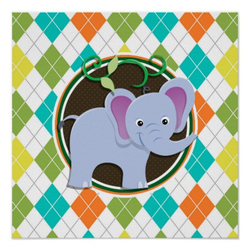 Elephant on Colorful Argyle Pattern Poster