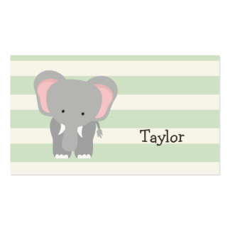 Elephant on Pastel Green Stripes Double-Sided Standard Business Cards (Pack Of 100)