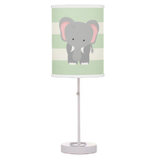 Elephant on Pastel Green Stripes Table Lamp
