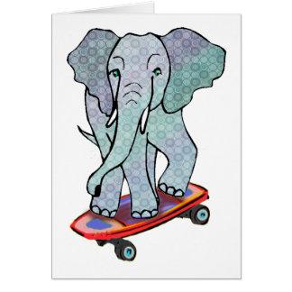 Elephant on Skateboard Card