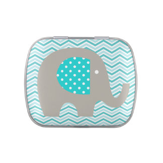 Elephant on Teal Chevron Tins and Jars w. Candy