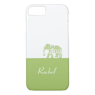 Elephant On the Road (Green Moroccan Leaves) iPhone 7 Case