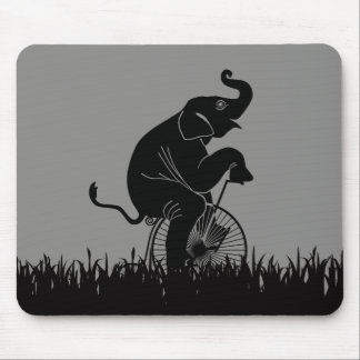 Elephant on Vintage Bike Pattern Mouse Pad