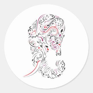 elephant ornate classic round sticker