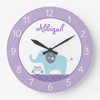 Elephant & Owl Nursery Large Clock