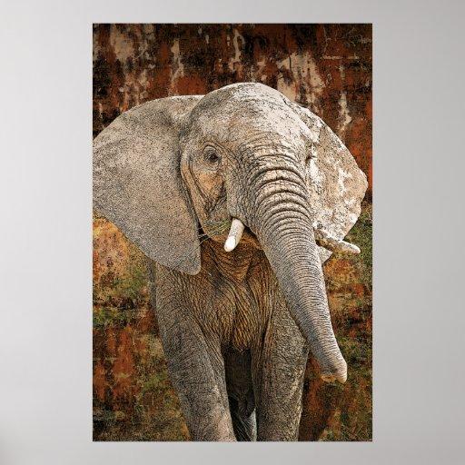 Elephant painting African art (4 sizes) Print