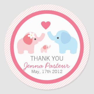 Elephant Parents and Baby Shower Classic Round Sticker